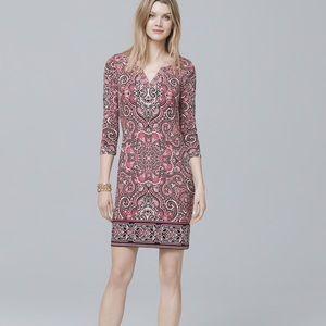 WHBM Pink Paisley Knit Shift Dress XL V-Neck